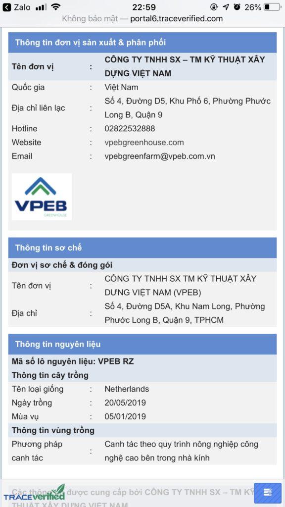 Thông tin quét Qr Code truy xuất nguồn gốc dưa lưới VPEB GREENHOUSE