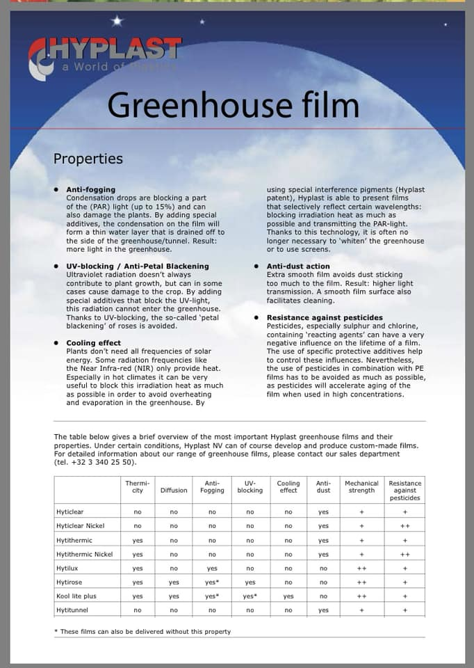 Hyplast Greenhouse Film