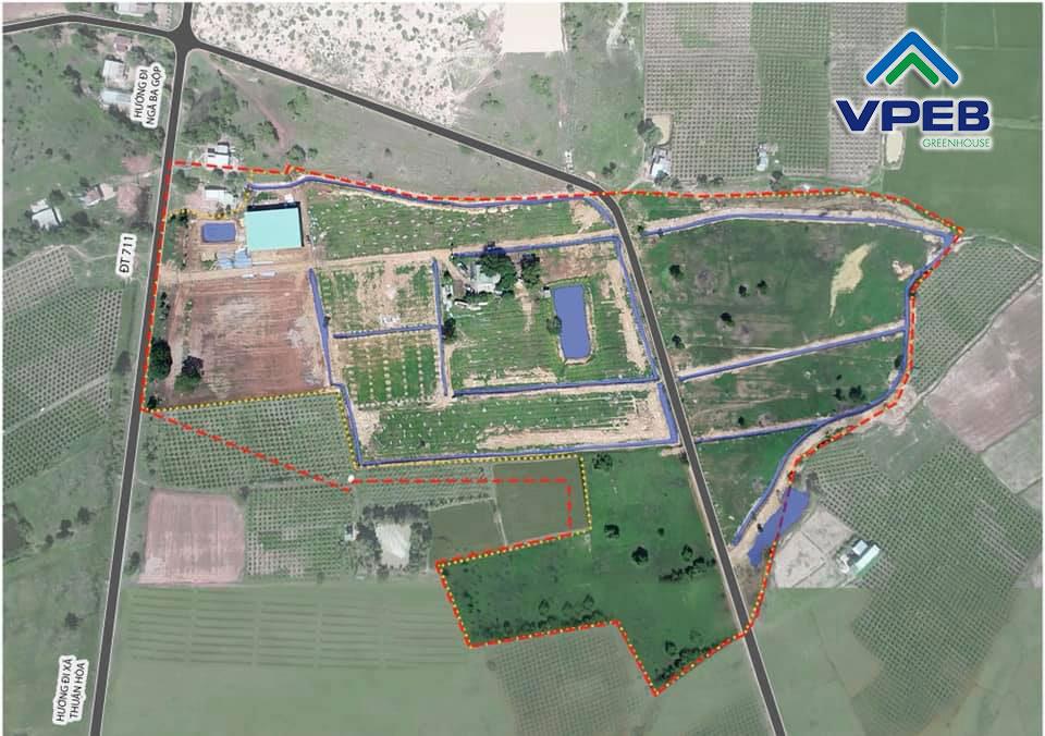 Trang trại VPEB GREENHOUSE -Bình Thuận với diện tích 9ha đang trong quá trình hoàn thiện các hạng mục